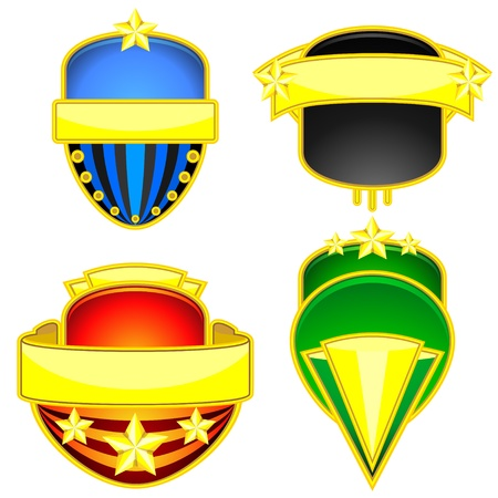 A set of four colorful badges with golden banners Vector