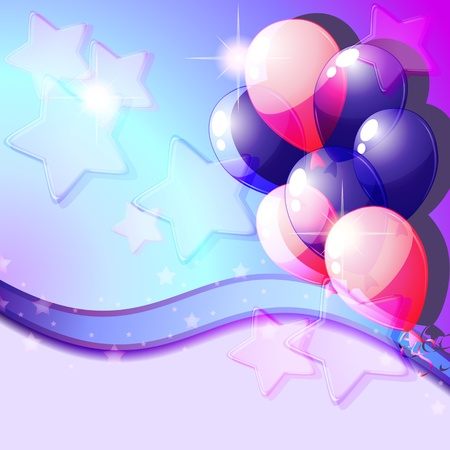 Party card with blue and pink balloons and stars