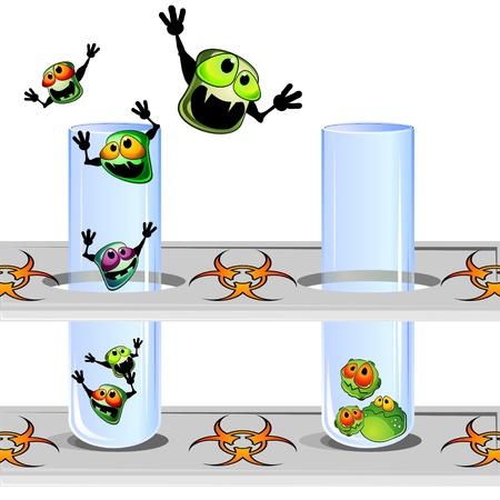 Twee laboratorium bewijzen in stand en ontsnappen ziektekiemen