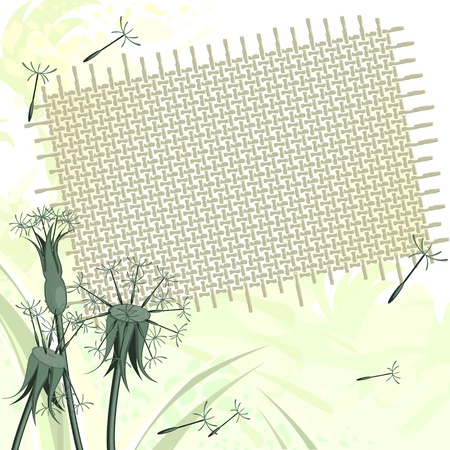 Grunge background with dandelions and piece of sackcloth Vector