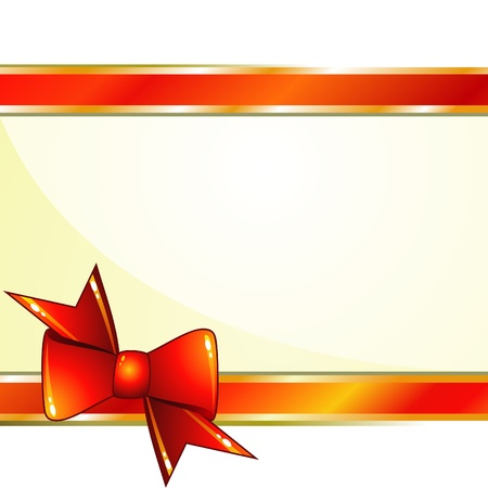 Background with red glossy ribbons and bow in corner Illustration