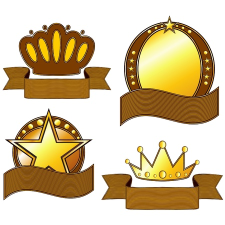 Four gold and brown emblems with copy space Vector