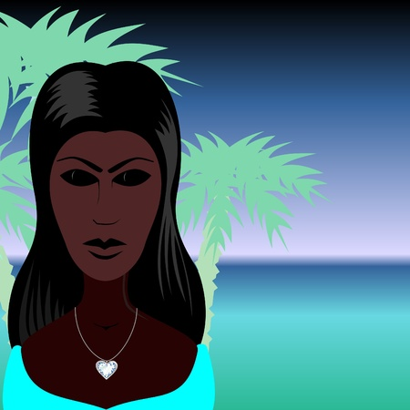 polynesian ethnicity: Woman and sea