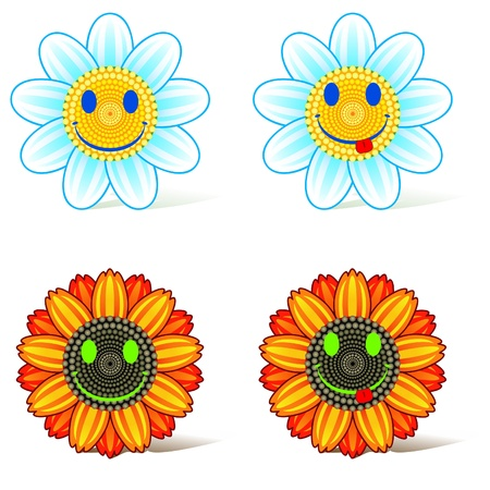 Heads of sunflower and daisy with smiling faces Vector