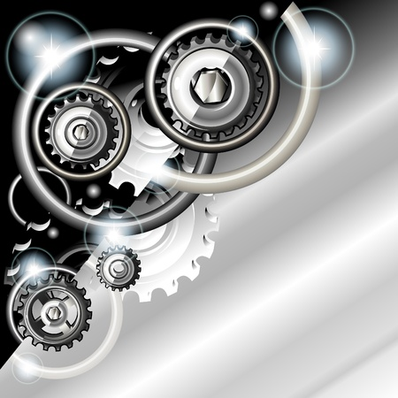 Abstract techno background with gears Illustration