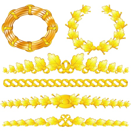 Set of isolated golden wreaths and dividers with oak leaves Vector