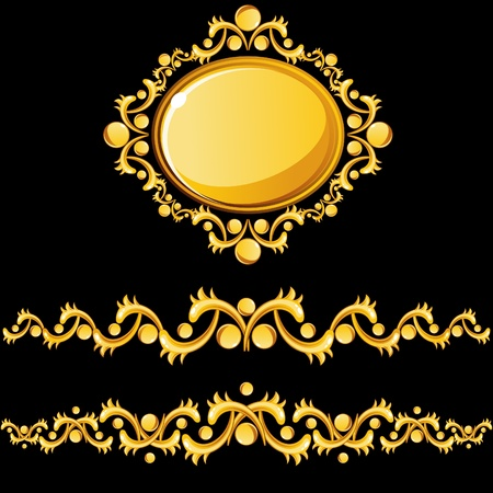 Gold dividers and medallion Vector
