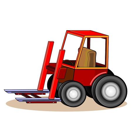 car loader: Red detailed cartoon loader with shadow  Illustration