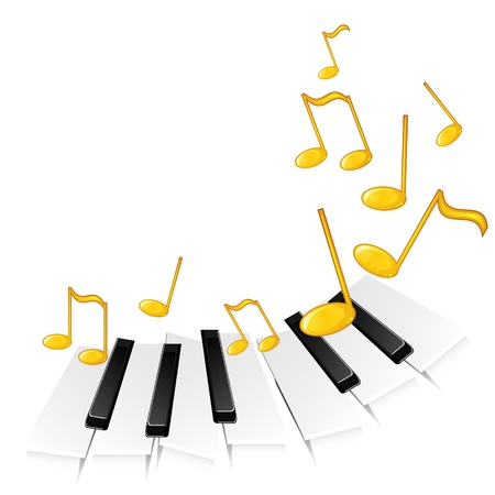 piano key: Background with music concept – piano keys playing some melody Illustration