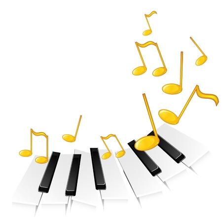 piano de cola: Fondo con teclas de música para piano tocando una melodía concepto Vectores