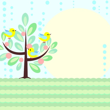 Card with stylized nature scene and rain Vector