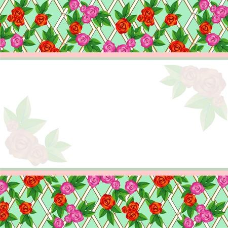 trellis: Background with trellis roses Illustration