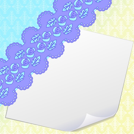 Blank sheet of paper and damask Vector