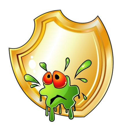 Germ is splashed on shield Stock Vector - 12965345