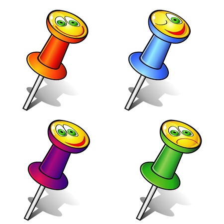 emotion faces: Set of colorful office pushpins with smiling faces