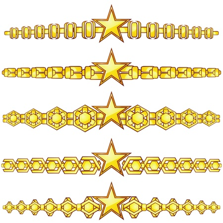 Set of elegant gold dividers with star in center Vector