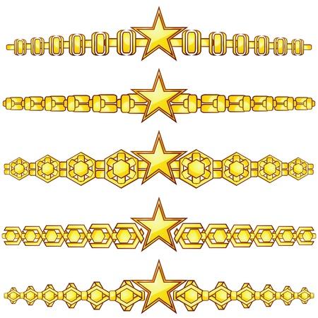separator: Set of elegant gold dividers with star in center Illustration