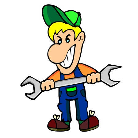 apprentice: Smiling young male worker holding big wrench