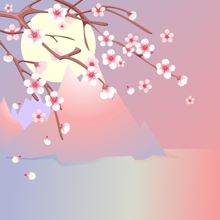Branches of blooming cherry and  sea with mountains Vector