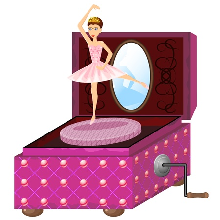 Old pink music box with dancing ballerina Stock Vector - 12831496