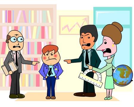 Drie boze leraren bespreken arrogante jongen student in de klas Stock Illustratie