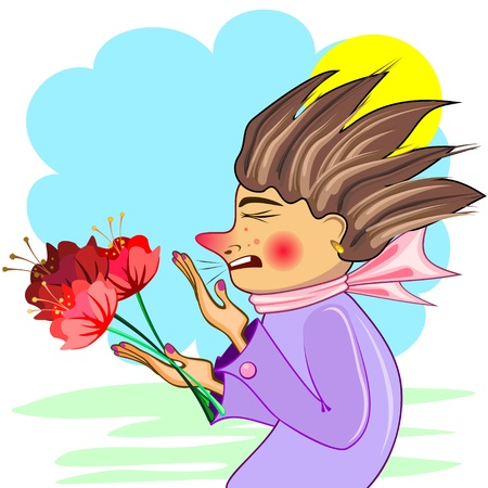 Young woman with red flowers sneezing of cold or allergy Vector