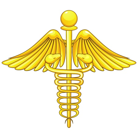 Golden medical symbol caduceus isolated over white Stock Vector - 12831511