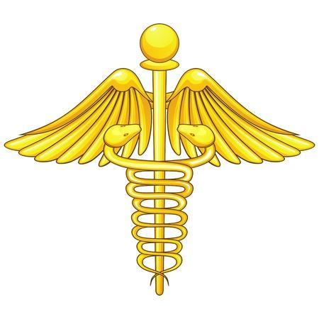 medical symbols: Golden medical symbol caduceus isolated over white Illustration