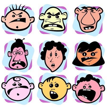 Angry doodle faces Stock Vector - 12831506