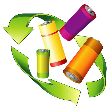 reprocess: Recycle sign and four colorful batteries over white
