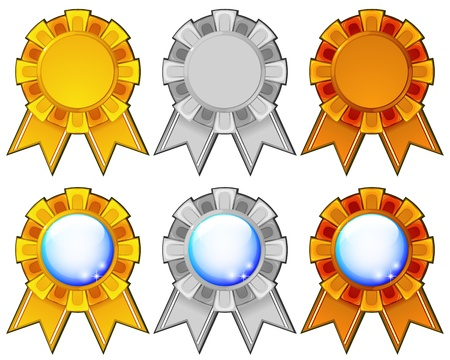 rosettes: Golden, silver and bronze blank rosettes with metallic or blue copy space