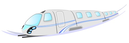 high speed train: Gray high speed train with blue stripe and rails Illustration