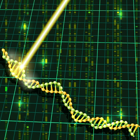 scanning: Strand of DNA and ray of laser scanning its structure Illustration