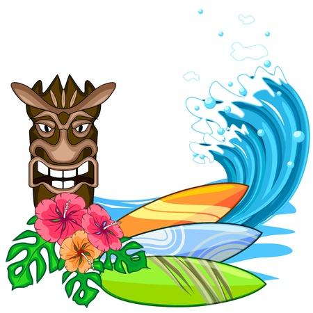 Tiki idool met hibiscus bloemen en surfplank Stock Illustratie