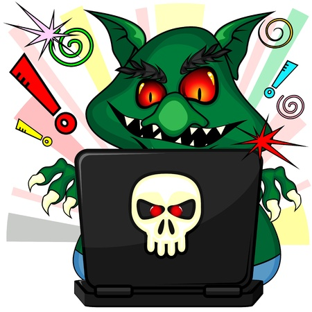 Green troll with ugly smile abusing internet communication with laptop Vector
