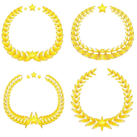 fanciful: Set of four golden wreaths with stars isolated against white Illustration