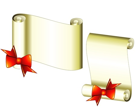 Horizontal and vertical sheets of rolled paper with red bow Vector