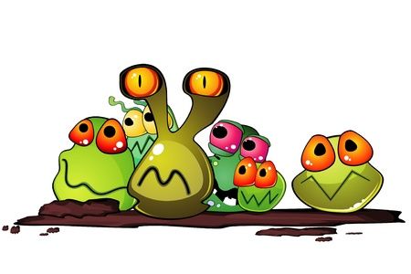 bacteria cartoon: Group of cartoon germs on some dirty surface