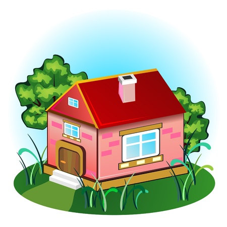 Pink brick house with chimney on meadow with trees Vector