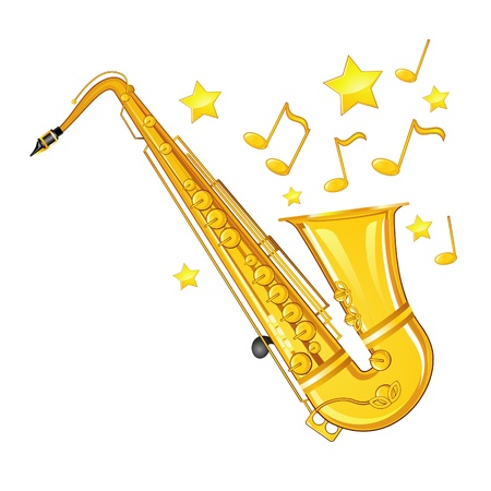 Musical background with golden saxophone, stars and notes
