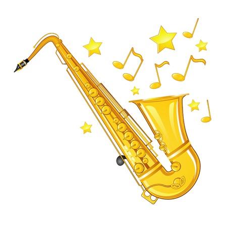 Muzikale achtergrond met gouden saxofoon, sterren en notities