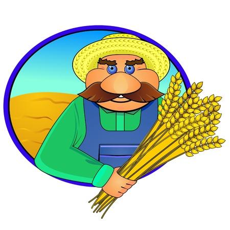 sheaf: Pegatina o etiqueta con los agricultores de edad y espigas de trigo