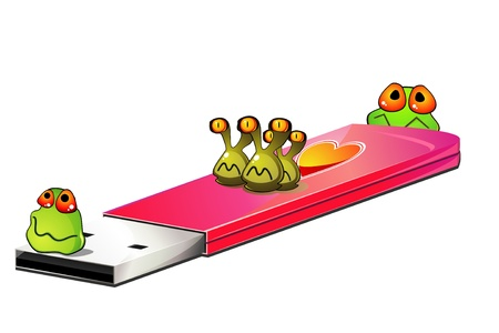 Pink USB flash drive with cartoon viruses Vector