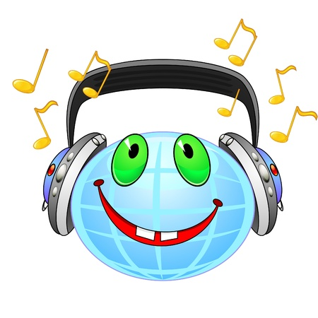 earpiece: Smiling planet Earth with earphones listening music Illustration