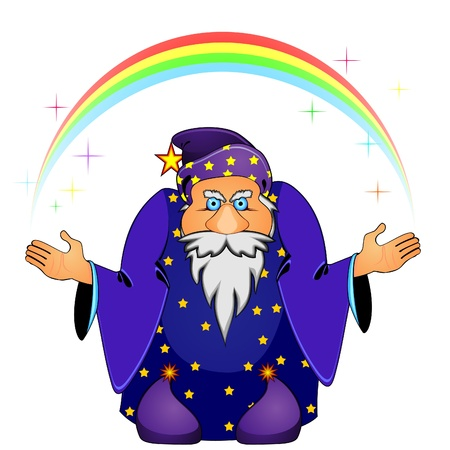 wizard: Old cartoon magician holding rainbow and colorful stars