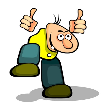 Cartoon stylized man jumping and showing thumbs up