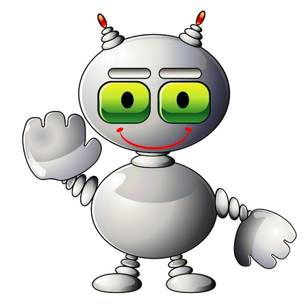 talismán: Sonriendo robot de plata como mascota para sitio web Vectores