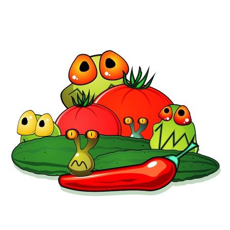 hygi�ne alimentaire: Les tomates, les concombres et les piments avec des germes qui se cachent parmi eux Illustration