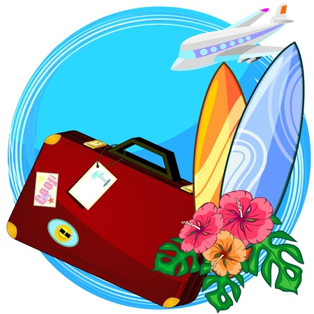 Concept of travelling for surfing with airplane and surf boards Vector