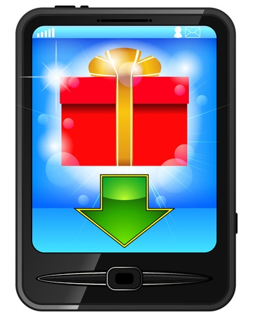 Modern black cellphone with red gift box and arrow on screen Stock Vector - 13068082